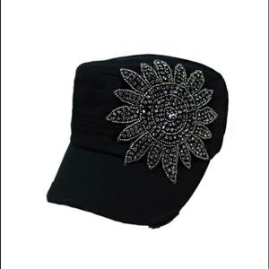 Sunflower Black Crystal Rhinestone Black Cap